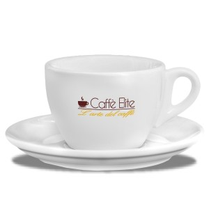 SET 6 TAZZE CAPPUCCINO IN PORCELLANA CAFFE' ELITE CON PIATTINO