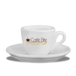 SET 6 TAZZINE IN PORCELLANA CAFFE' ELITE CON PIATTINO